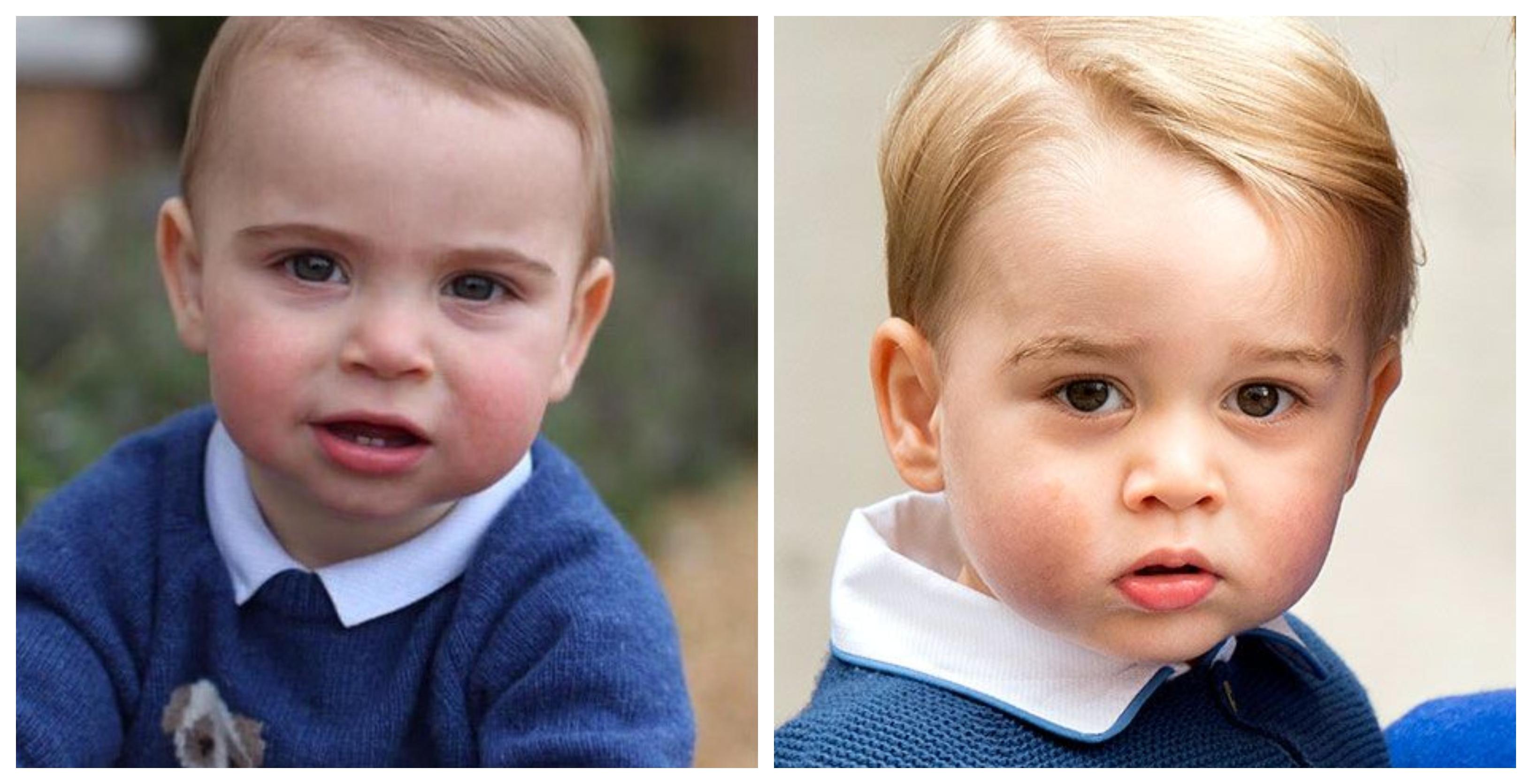 O príncipe Louis (esq.) e seu irmão, George (dir.), quando tinha a mesma idade / Fotos: Reprodução Instagram