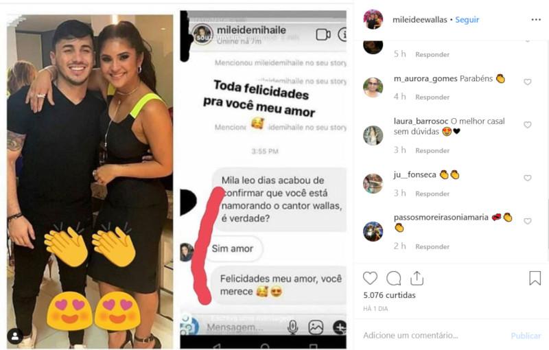Mileide Mihaile assume namoro com Wallas Arrais / Foto: Reprodução Instagram