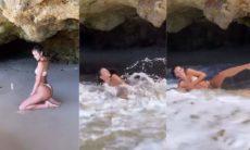 Bruna Marquezine é surpreendida por onda no Ceará e caí na risada