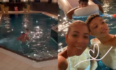 Esposa do jogador, Tiago Silva, estreia piscina da nova mansão, em Londres, com os filhos
