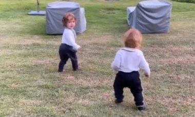 Paulo Gustavo posto vídeo dos filhos, Gael e Romeu, caminhando ao ar livre