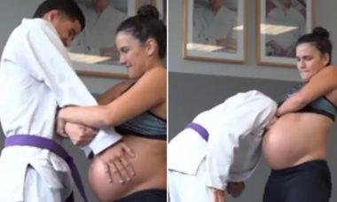 Grávida de 38 semanas, Kyra Gracie posta vídeo lutando Jiu-Jitsu