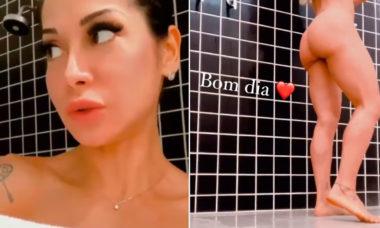 Mayra Cardi posta vídeos do banho em que aparece completamente nua