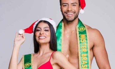 Miss e Mister Brasil, Antony Marquez e Juliana Malveira celebram a chegada do Natal . Foto: Divulgação