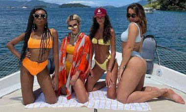 Thelma, Marquezine e Rafa curtem dia de barco para celebrar aniversário de Manu