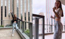 Após se mudar para SP, Duda Reis surge dançando na varando do seu novo apartamento
