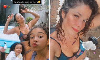 Samara Felippo curte dia de piscina com as filhas