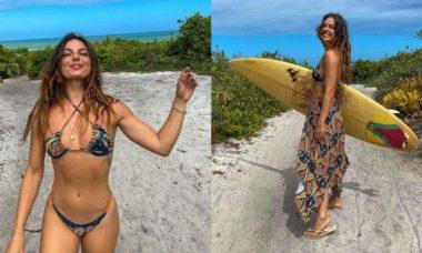 """Isis Valverde surge pronta para surfar durante férias na Bahia: """"seguindo o sol sempre"""""""