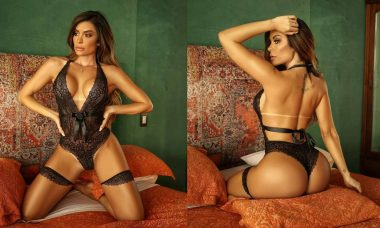 Denise Dias posa de lingerie exibindo bumbum: 'Paixão nacional com unanimidade'. Foto: Reprodução Instagram