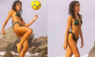 Bruna Marquezine surge jogando bola em praia de Noronha: 'sou a mais nova promessa'