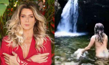 Leticia Spiller nada nua em cachoeira: 'Mãe Água, cuida de nós'