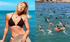 Danni Suzuki nada com lobos marinhos no Uruguai: 'natureza espetacular'