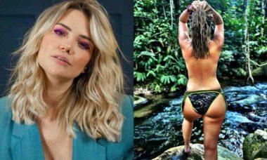 Marcela McGowan faz topless em cachoeira: 'anseio pelo que é selvagem'