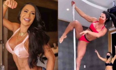 Gracyanne Barbosa exibe performance em aula de pole dance