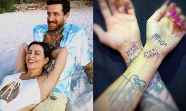 Cleo faz tatuagem junto com o namorado: 'você e eu'