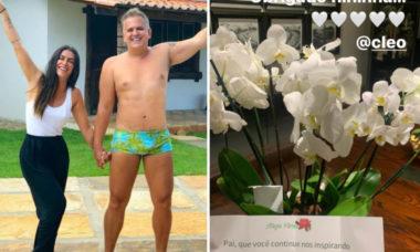 """Cleo manda flores para Orlando Morais após alta: """"Pai, que você continue nos inspirando"""""""