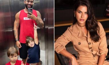 """Andressa Suita comenta em foto de Gusttavo Lima com os filhos: """"Tudo a cara da mamãe"""""""