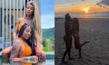 Ludmilla e Brunna Gonçalves dão beijo ao pôr do sol em praia de Noronha