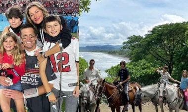 """Gisele Bündchen posta homenagem a Tom Brady: """"te amamos muito"""""""