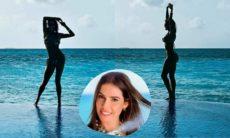 Deborah Secco posa em cenário paradisíaco nas Maldivas: 'tons de azul'