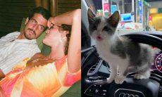 Enzo Celulari passeia de carro com gatinha que adotou com Marquezine