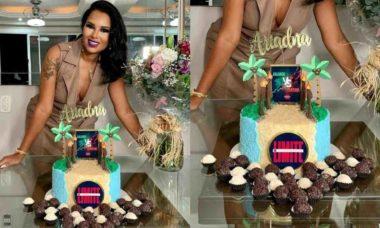 Ariadna celebra aniversário com bolo tema de 'No Limite': 'eu amei'