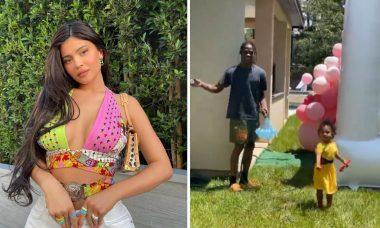 Kylie Jenner curte dia de sol e brinca de balões de água com o ex