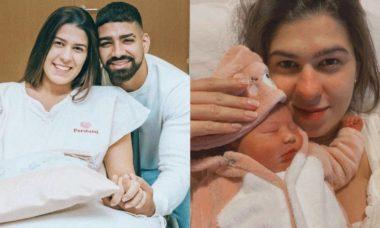 Esposa de Dilsinho posa com filha pela primeira vez: 'momento mágico'
