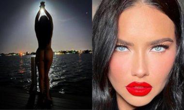 Adriana Lima posa nua a luz do luar: 'quando as duas luas se encontram'