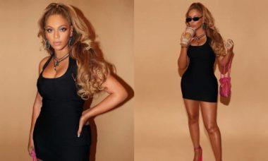 Beyoncé posa com look preto e rosa e é comparada a boneca 'Barbie'