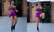 Viviane Araújo posa fazendo sua rotina de exercícios em casa: 'flutuando'