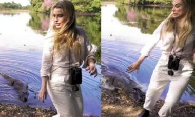 Fernanda Keulla escapa de ataque de jacaré durante viagem no Pantanal