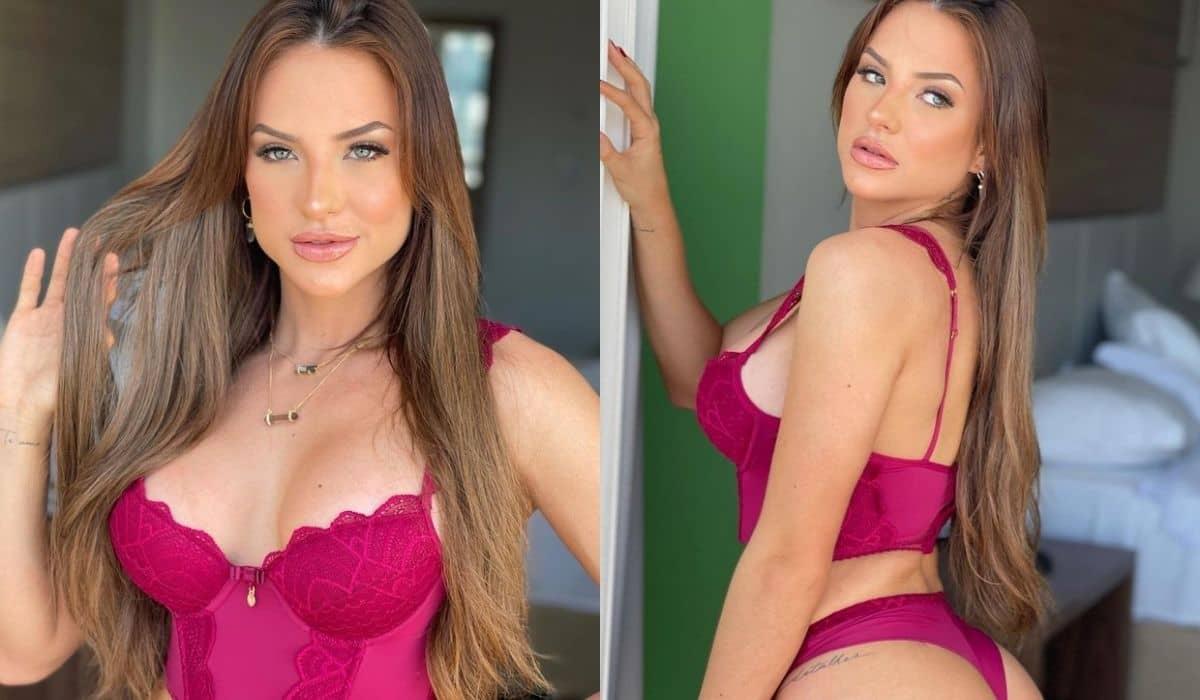 Gabi Martins posa de lingerie fio dental e ganha elogio do namorado